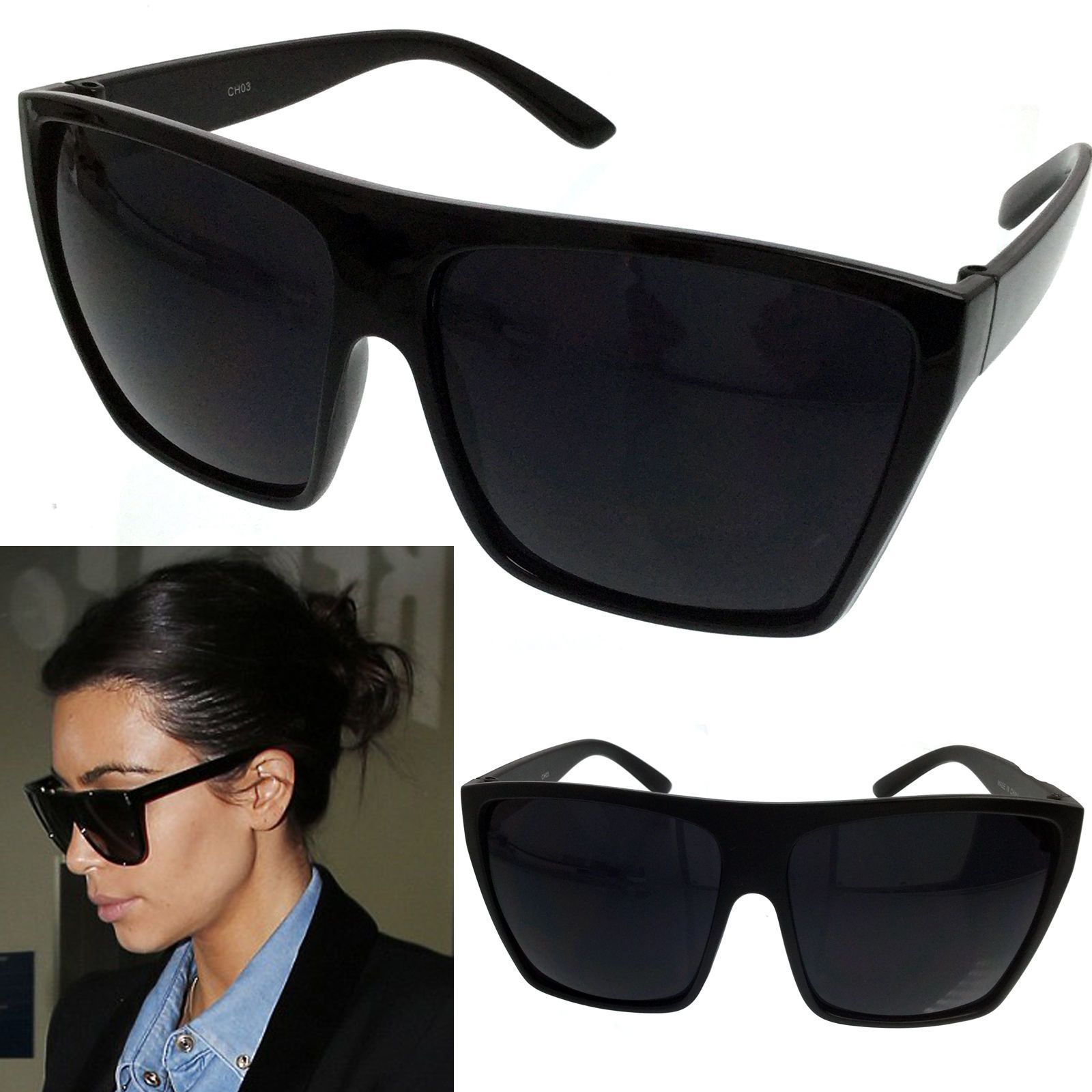 d7050a3530fe5 Black Oversized Large Xl Big Sunglasses Kim Square Flat Aviator Wayfarer  Womens