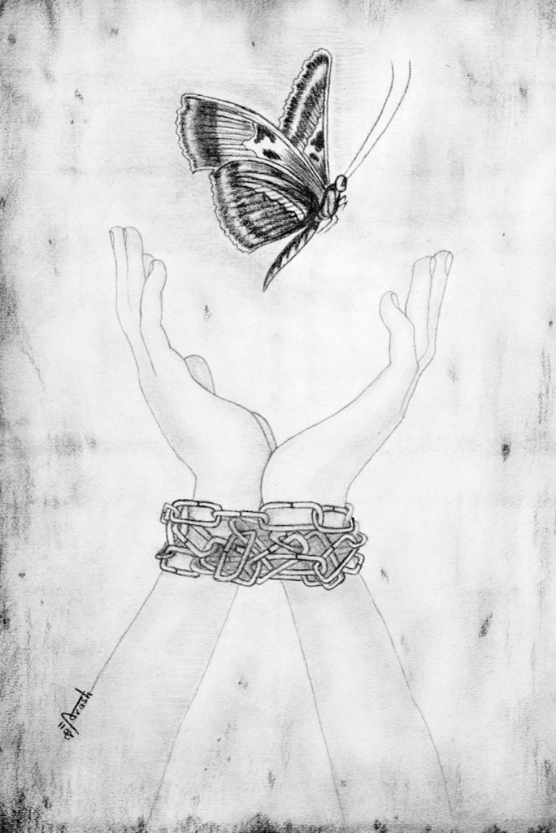 A pencil drawing on paper called dreams of freedom a work by an asylum seeker in detention as part of the exile series of the refugee art project