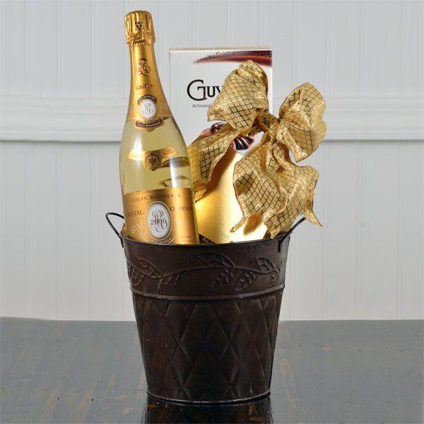 Wedding Gift Wine Basket: Cristal Champagne & Handmade Truffles Gift Basket $374.99