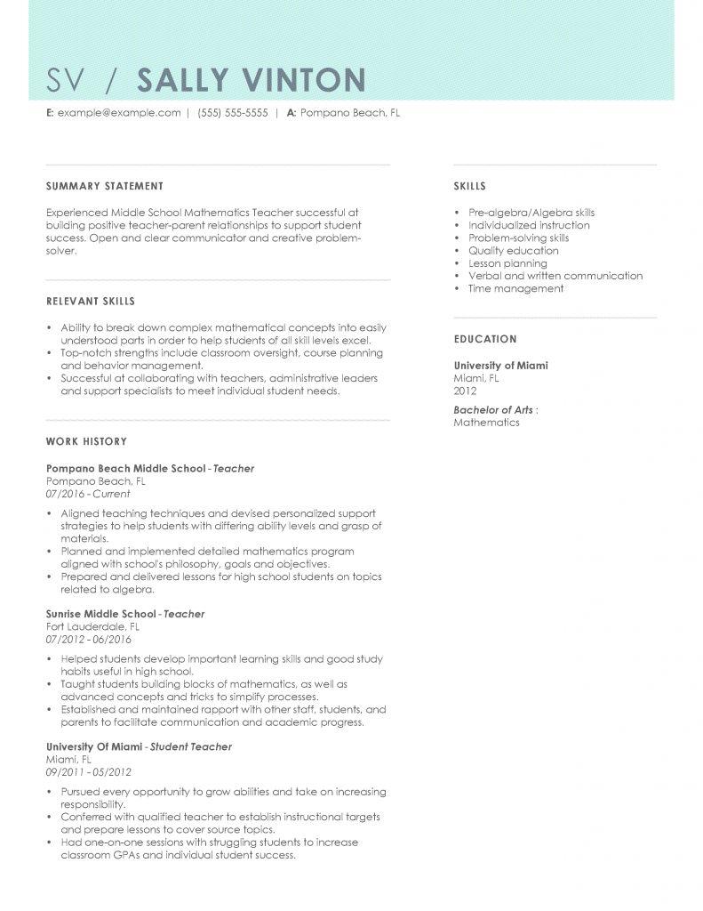 Resume Format Options 2021 In 2021 Teacher Resume Examples Teacher Resume Template Teacher Resume