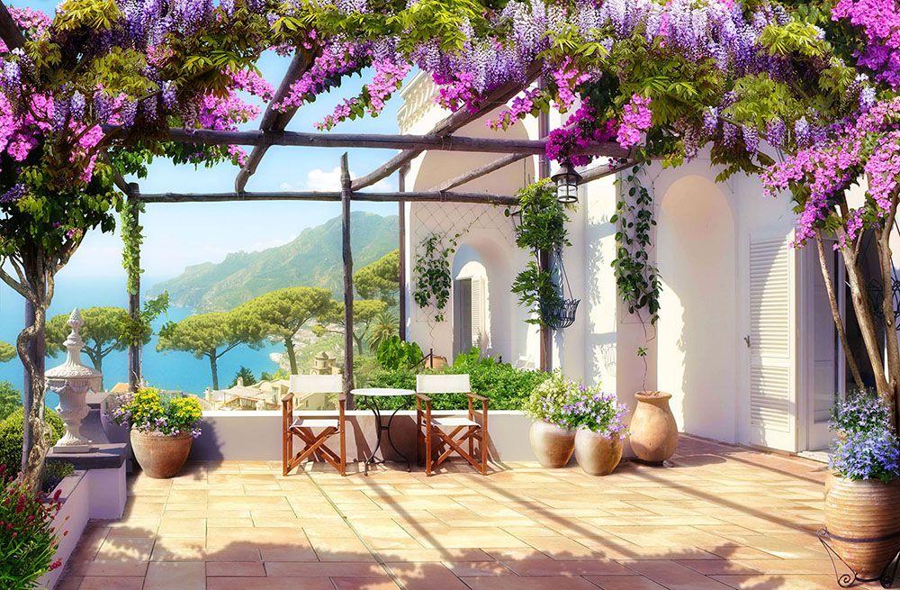 Mittelmeer terrasse direkt am strand fototapeten tapeten fototapete wand - Mediterrane wandbilder ...