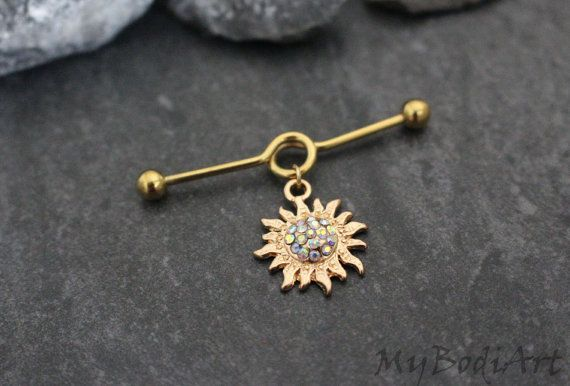 Sun Industrial Barbell Gold Crystal Industrial by MyBodiArt