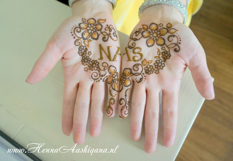 Mehndi Hand Name : Minimalistic mehndi design with the grooms name in a heart of
