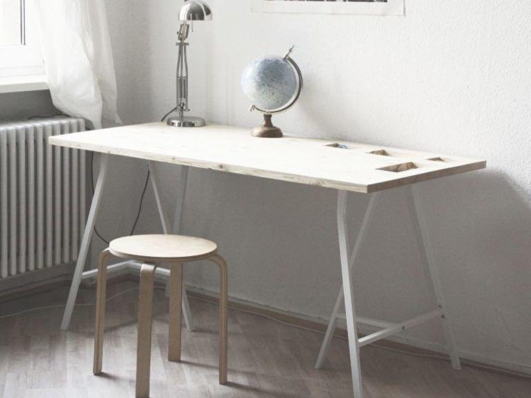 DIY-Anleitung Praktischen Schreibtisch mit Fächern bauen via - schreibtisch diy