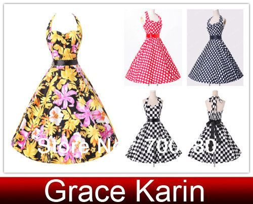 2014 Fashion Girls Short Vintage Dress Sexy Halter Print/Polka Dots/Plaid Daily Ball Prom Party Gown Dresses CL6076