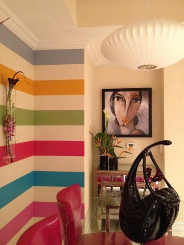 Perfect Idea For A Dull Corner Wall Change Up The Color Scheme A Bit To Match Decor Home Striped Walls Home Decor