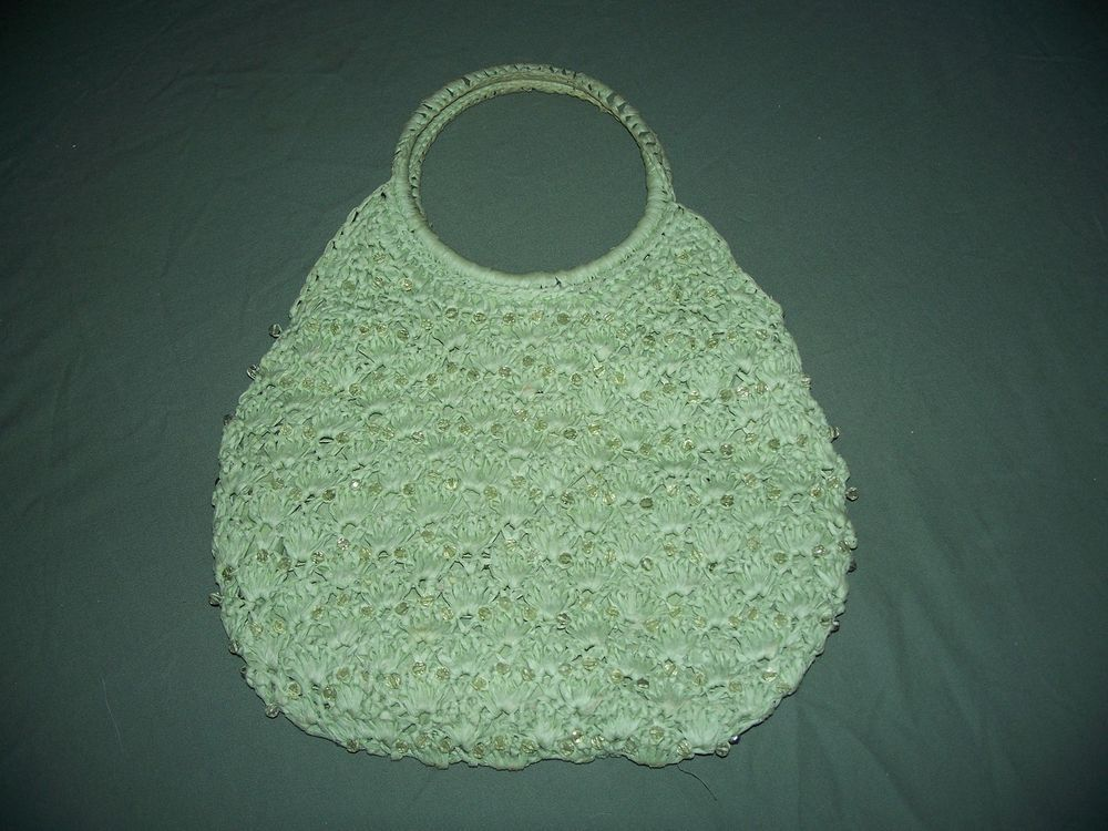 H & M Light Green Straw Weaved Purse/Handbag with Clear Plastic beads #HM #everydaybag