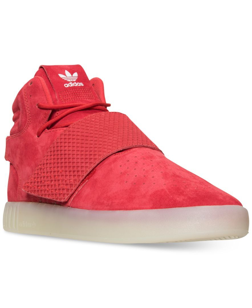 bedc9433da81a0 adidas Men s Tubular Invader Strap Casual Sneakers from Finish Line - Red 13