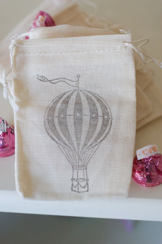 Shabby Chic Wedding Favor Mini Muslin Drawstring bags Hot Air ...