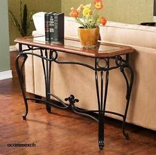 Wrought Iron Console Prentice Sofa Table Wood Glass Top Hall Entry