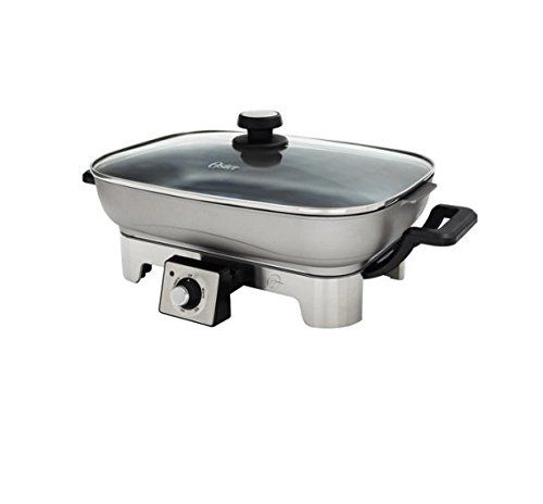 Oster Designed For Life Electric Skillet Brushed Stainless Steel