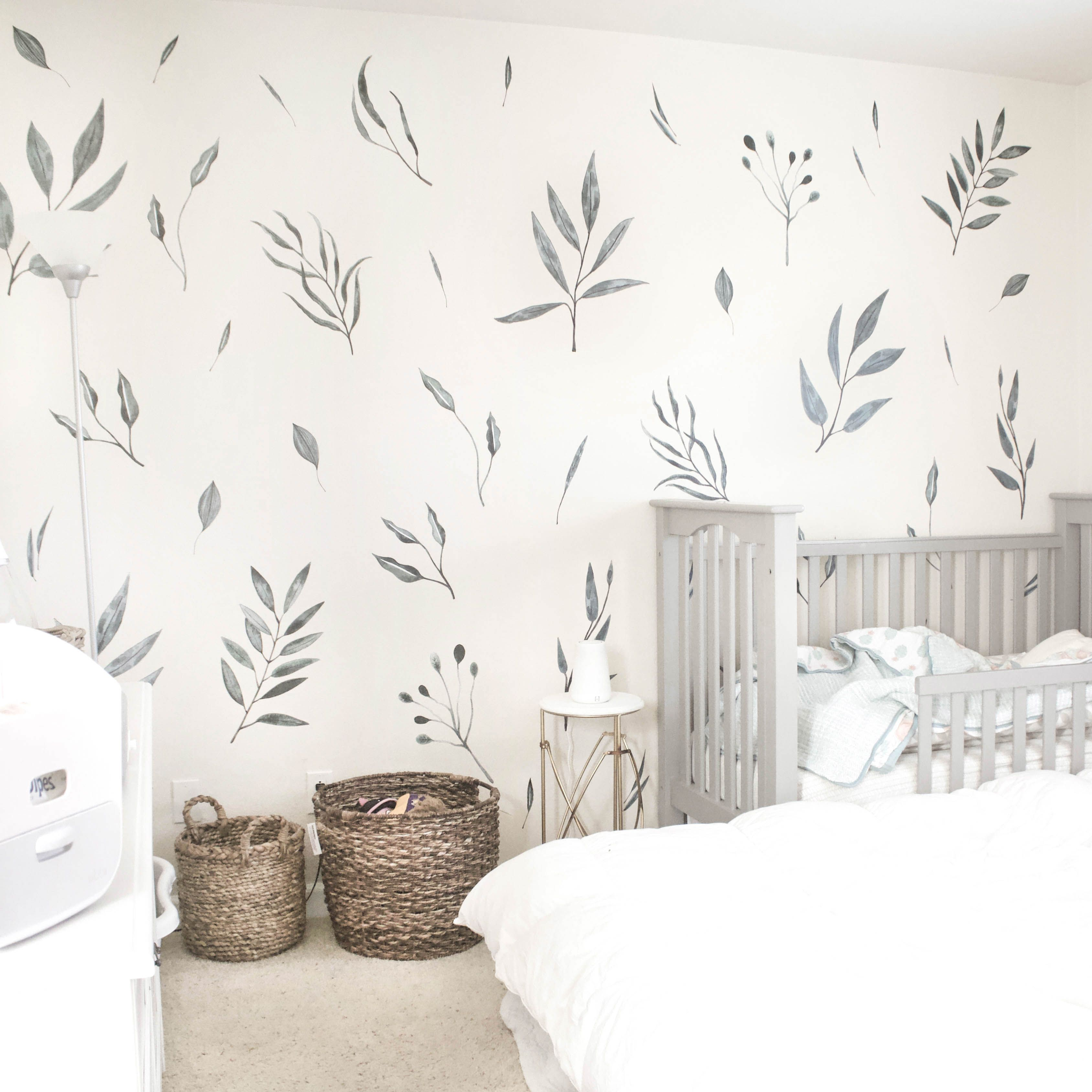 Watercolor Leaves Vinyl Wall Stickers Baby Room Decor