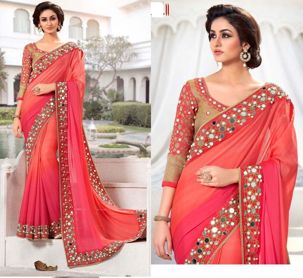 Sari indian bollywood designer saree mirror work blouse for Mirror work saree