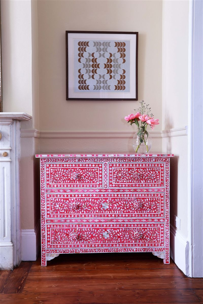 pink mother of pearl chest of drawers (£1,050) Indian