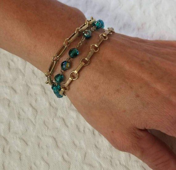 Vintage beaded bracelet, multi strand rosary bracelet with turquoise glass rosary beads and gold book chain, handmade assemblage #rosaryjewelry