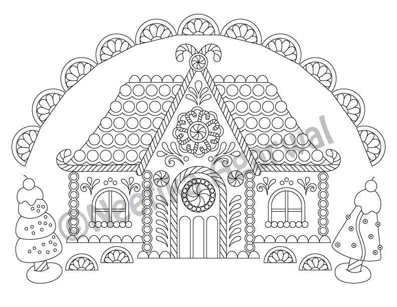 Gingerbread House Christmas Adult Coloring Page Christmas