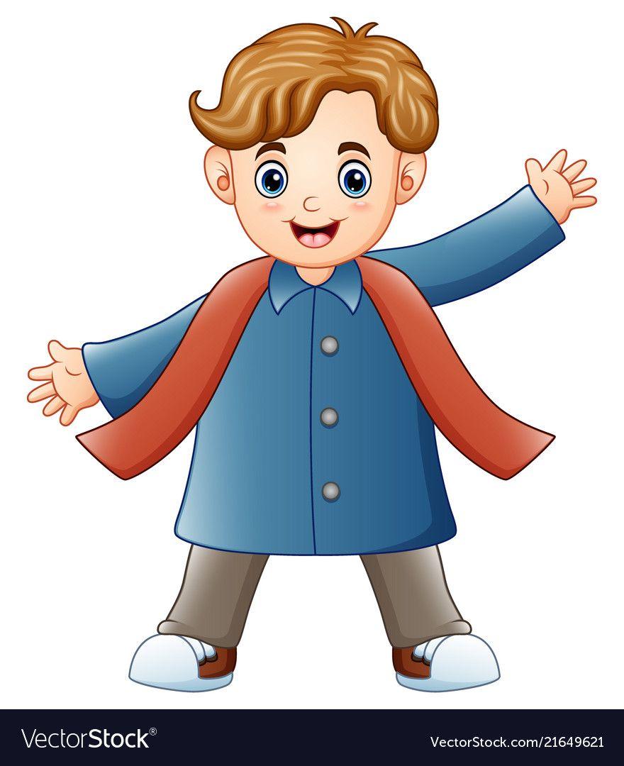 Pin On Mojca: Cartoon Happy Boy In Winter Clothes Vector Image On
