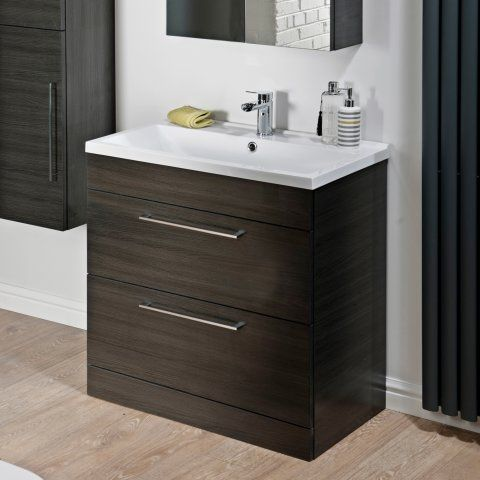 800mm Tyne Black Brown Vanity Unit Floor Standing Bathroom