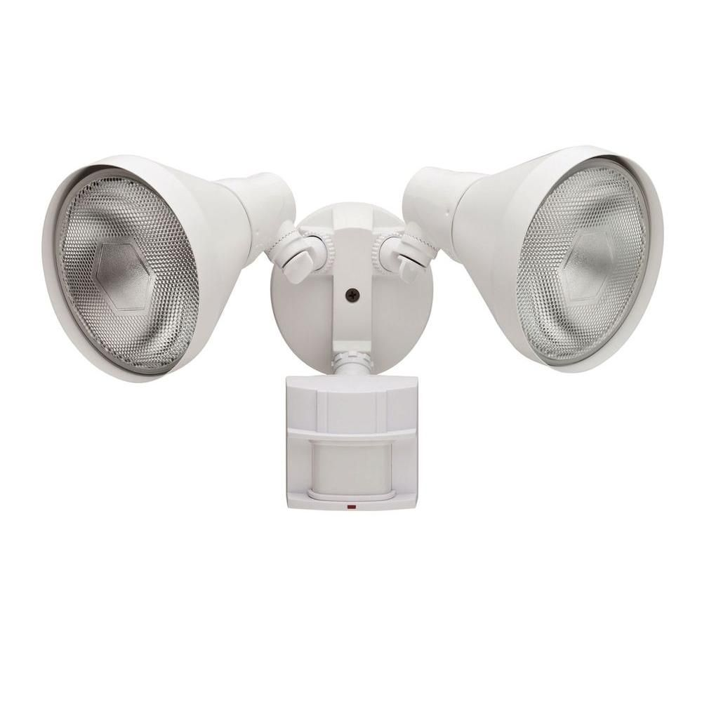 Two light black outdoor security lights with motion sensor