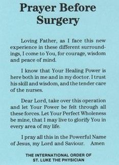 Prayer for surgery catholic