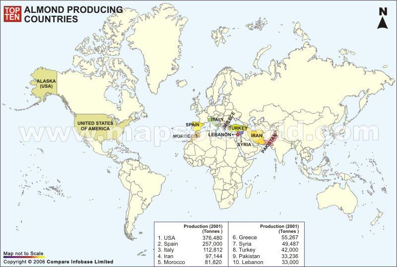 Map Showing Worlds Top Ten Almond Producing Countries Worlds Indian Map On Top Of Us