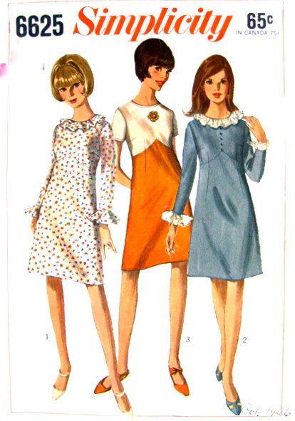 Simplicity 6625 1960s Misses MoD A Line Dress Pattern Shaped