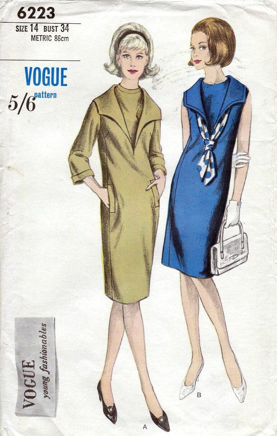 60s Vogue dress sewing patterns 6223, Bust 34 inches, dress with ...