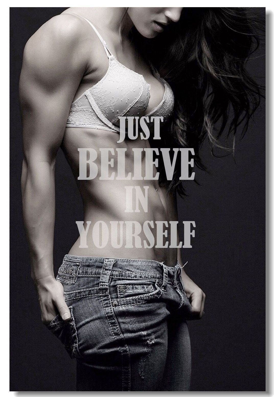 Poster Fitness Workout Quotes Motivational Inspiration Muscle Gym Font Print 011