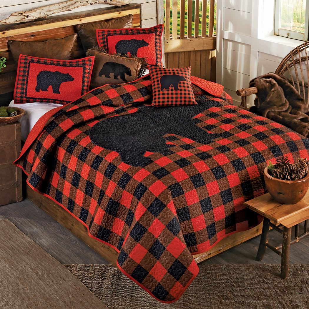 Black Bear Buffalo Check Quilt Bedding Collection Quilt Sets Queen Black Bear Decor Black Forest Decor