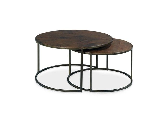 copper round 2-piece nesting coffee table set | table furniture