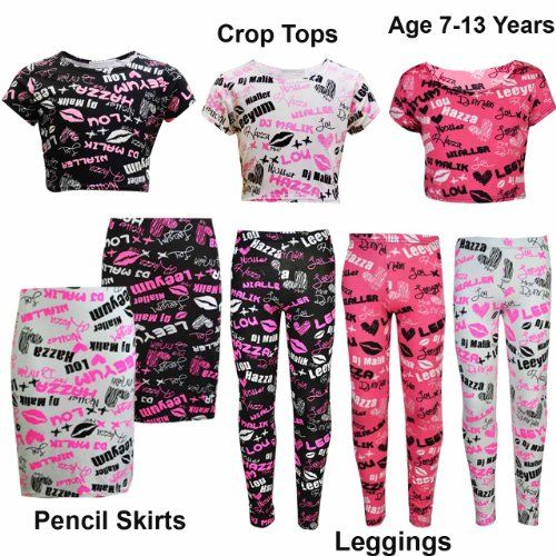 NEW Unofficial One Direction Crop Top/Leggings/ Midi Dresses With Autograph  Print. AGE - NEW Unofficial One Direction Crop Top/Leggings/ Midi Dresses With