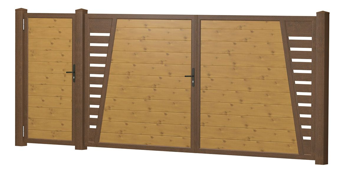 Privacy screen courtyard gate-door combination plastic – knot spruce – …