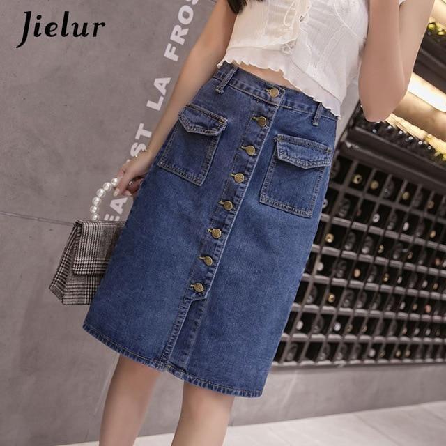 Jielur Fashion Korean High Waist Denim Skirts Plus Size Buttons Pockets Classic Jeans Skirt for Women S-5XL Elegant Jupe Femme