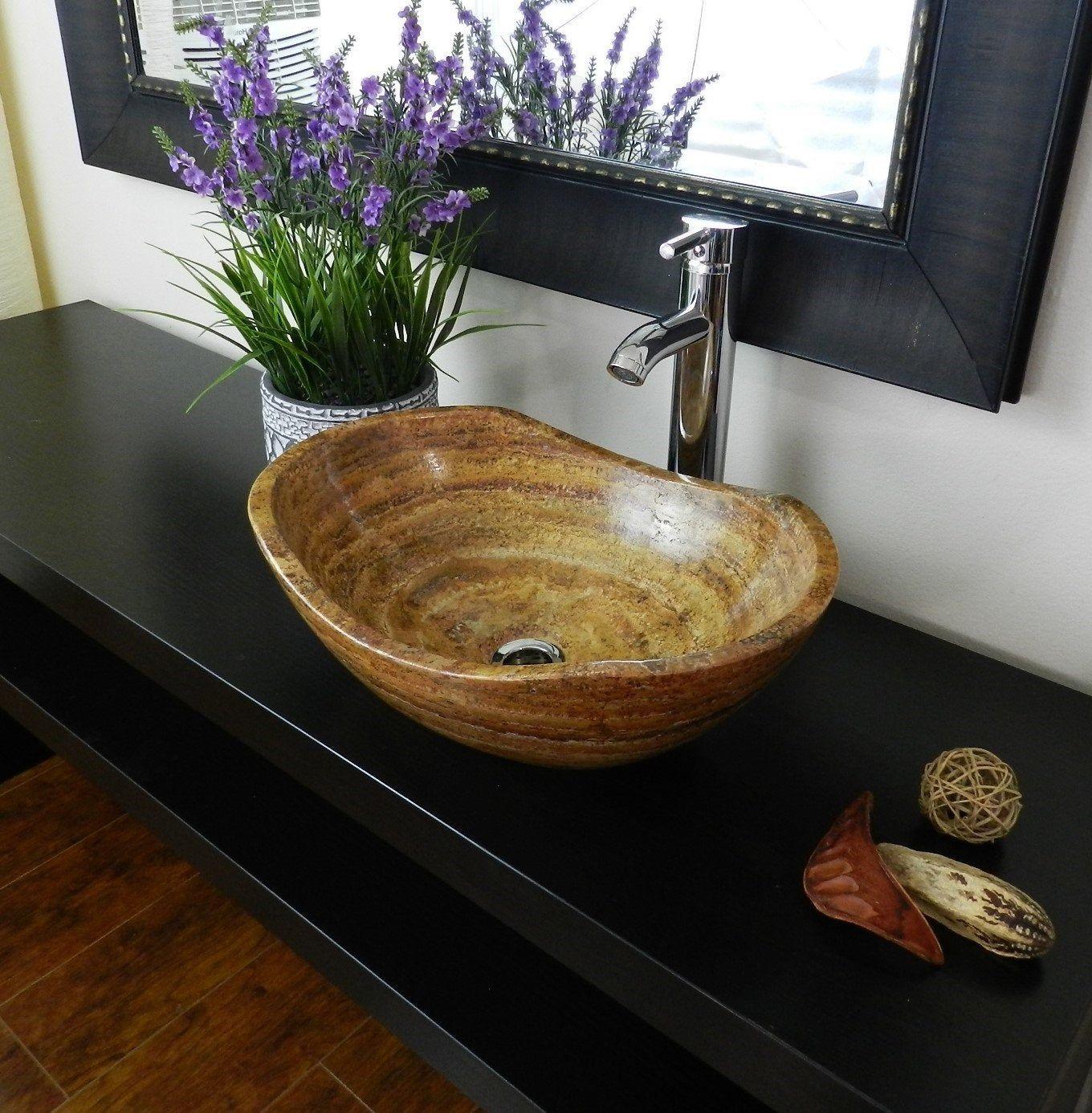 Bathroom Vessel Sink Red Brown Canoe Basin Travertine Stone Marble