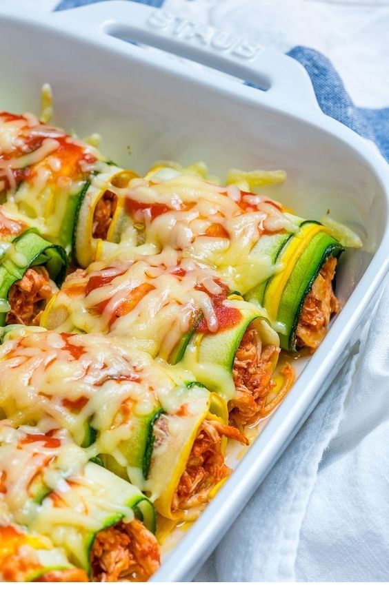 Zucchini Chicken Enchilada Roll-Ups Recipe  #cleaneatingforbeginners
