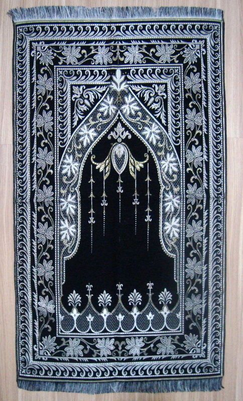 Black Turkish Ic Prayer Rug Carpet Mat Namaz Salat Mus Icgift