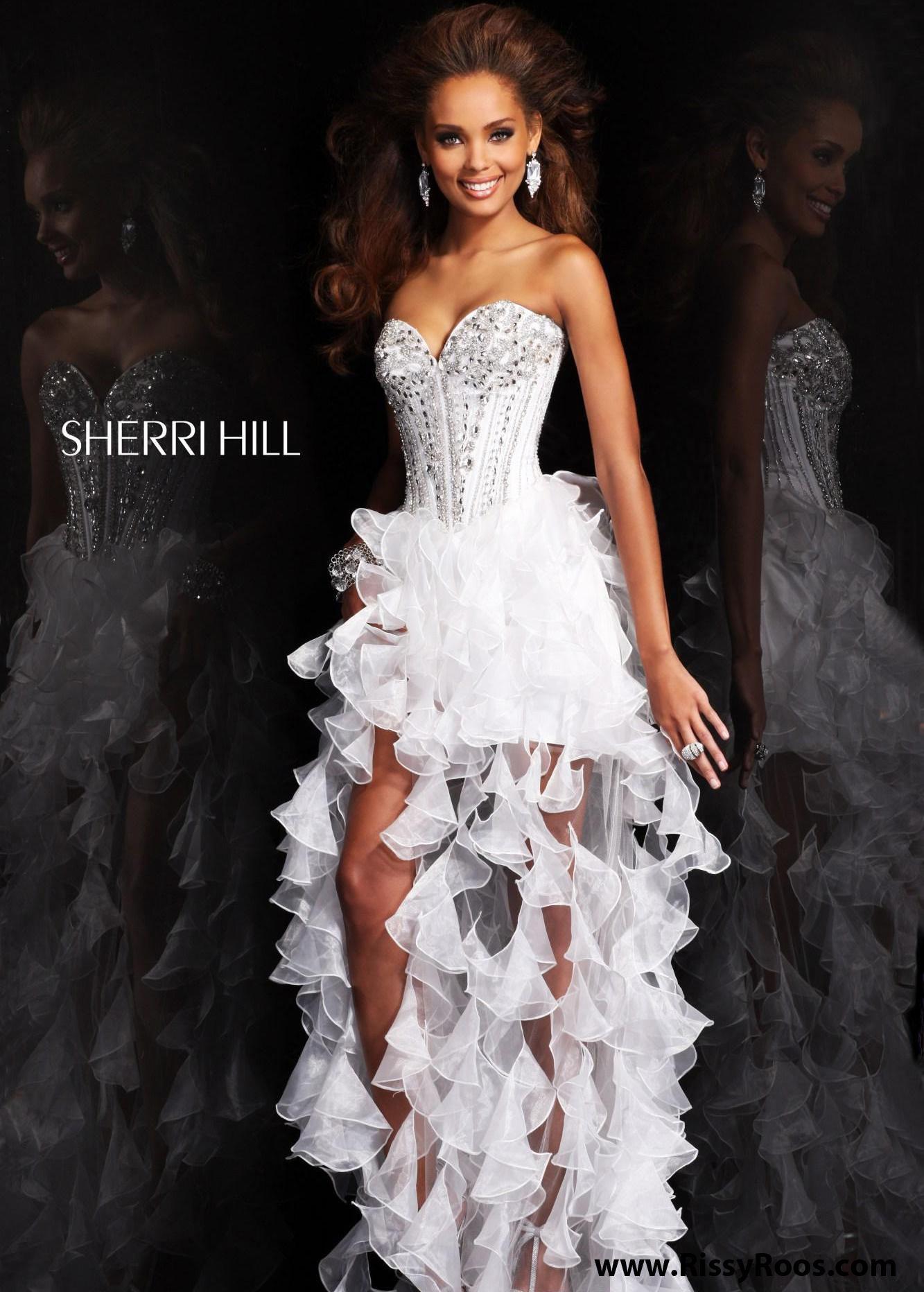 Find sherri hill white hilow sweetheart beaded dresses