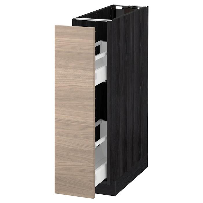 Metod Element Bas Rgts Coulissants Noir Brokhult Gris Clair 20x60 Cm Ikea Ikea Element Bas Gris Clair