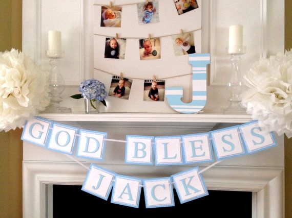 Customizable Banner for a Baptism Party - Baptism Banner - Baptism Party Decor - God Bless Banner by TwoChihuahuas