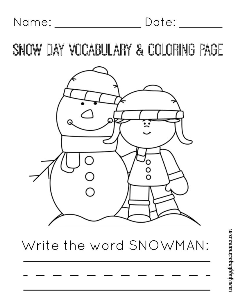 Snow Day Printable Pack Snowman, Snow and Craft activities