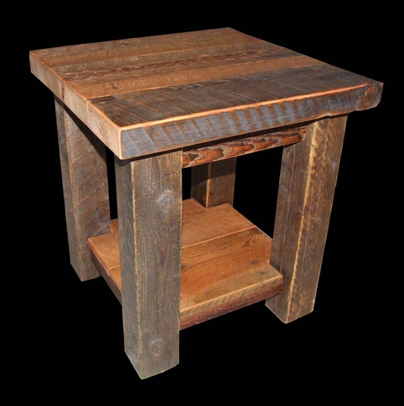 Rustic End Table, Very Simple. 4x4 Posts With The 2 Inch Top.