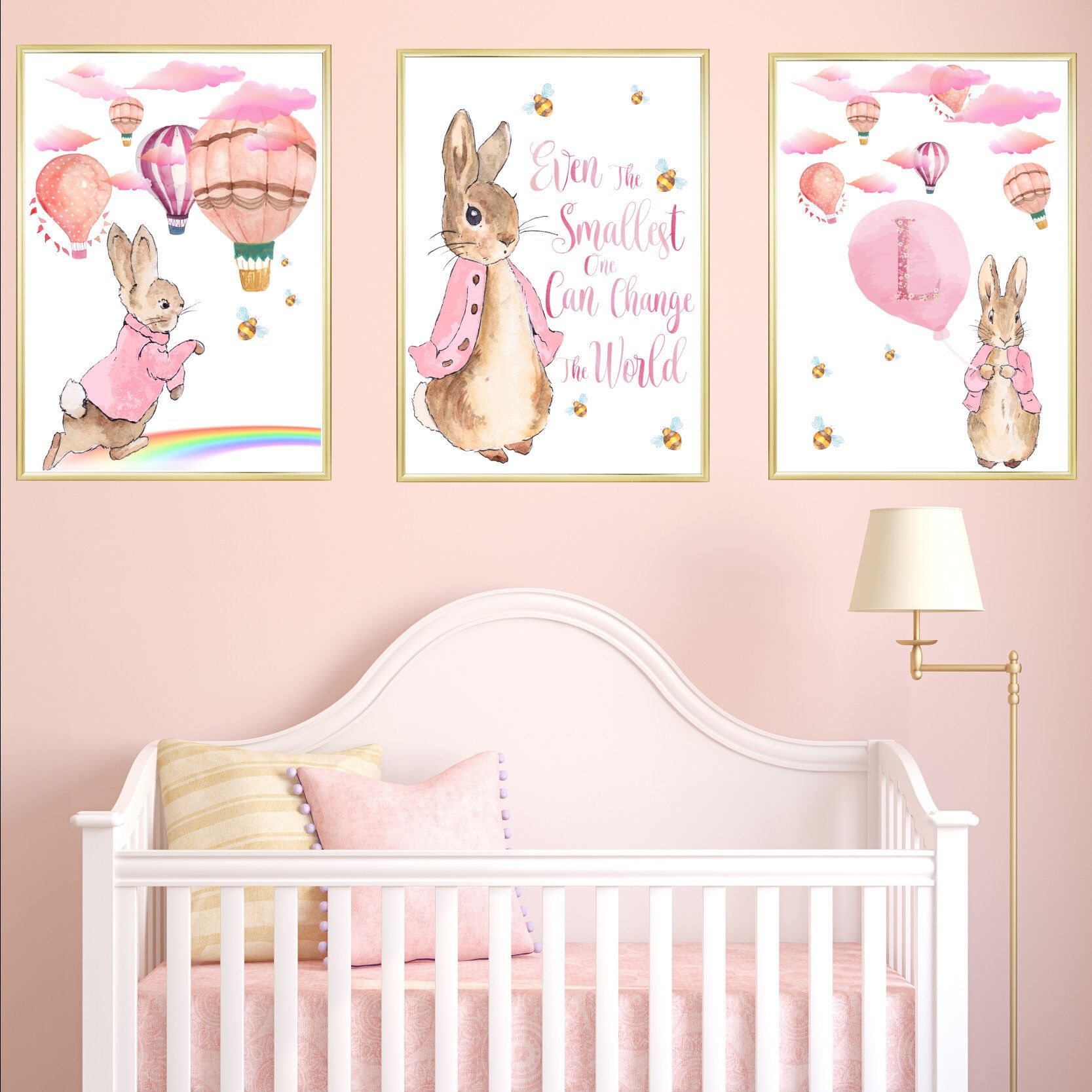 Pink Peter Rabbit And Hot Air Balloons Nursery Art Print Set