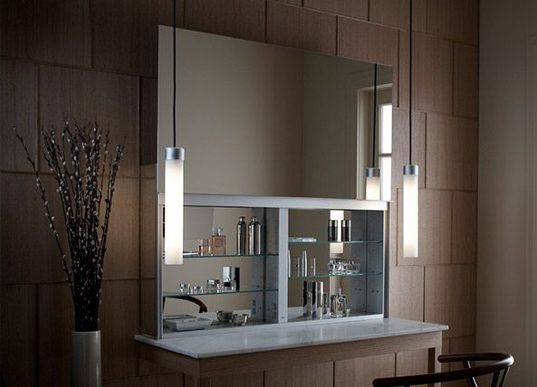 Merveilleux Robern Uplift Mirrored Bathroom Cabinet And Pendant Lights In A Seated  Dressing Room Application. Entire