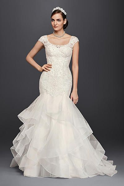 oleg cassini lace cap sleeve trumpet wedding dress cwg750 petite wedding dressesdesigner
