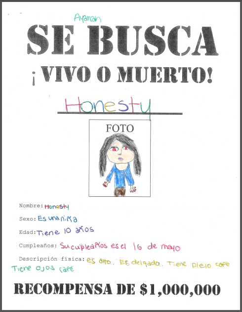 SE BUSCA Wanted Poster Beginner Middle School Spanish