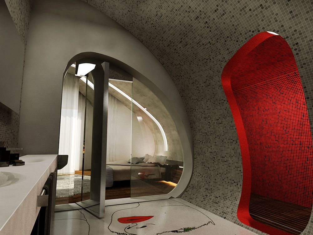Red Accent Wall Idea Also Glass Rotating Door In Futuristic Interior Design Plus Floating Bed