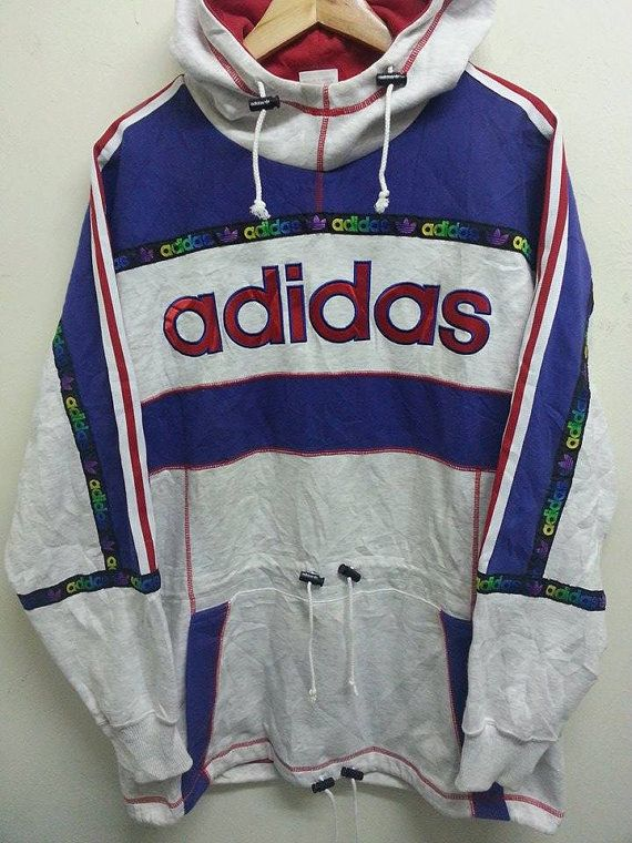 Reserved for DeadCool-Vintage 90s Adidas Blue and White Hooded ...