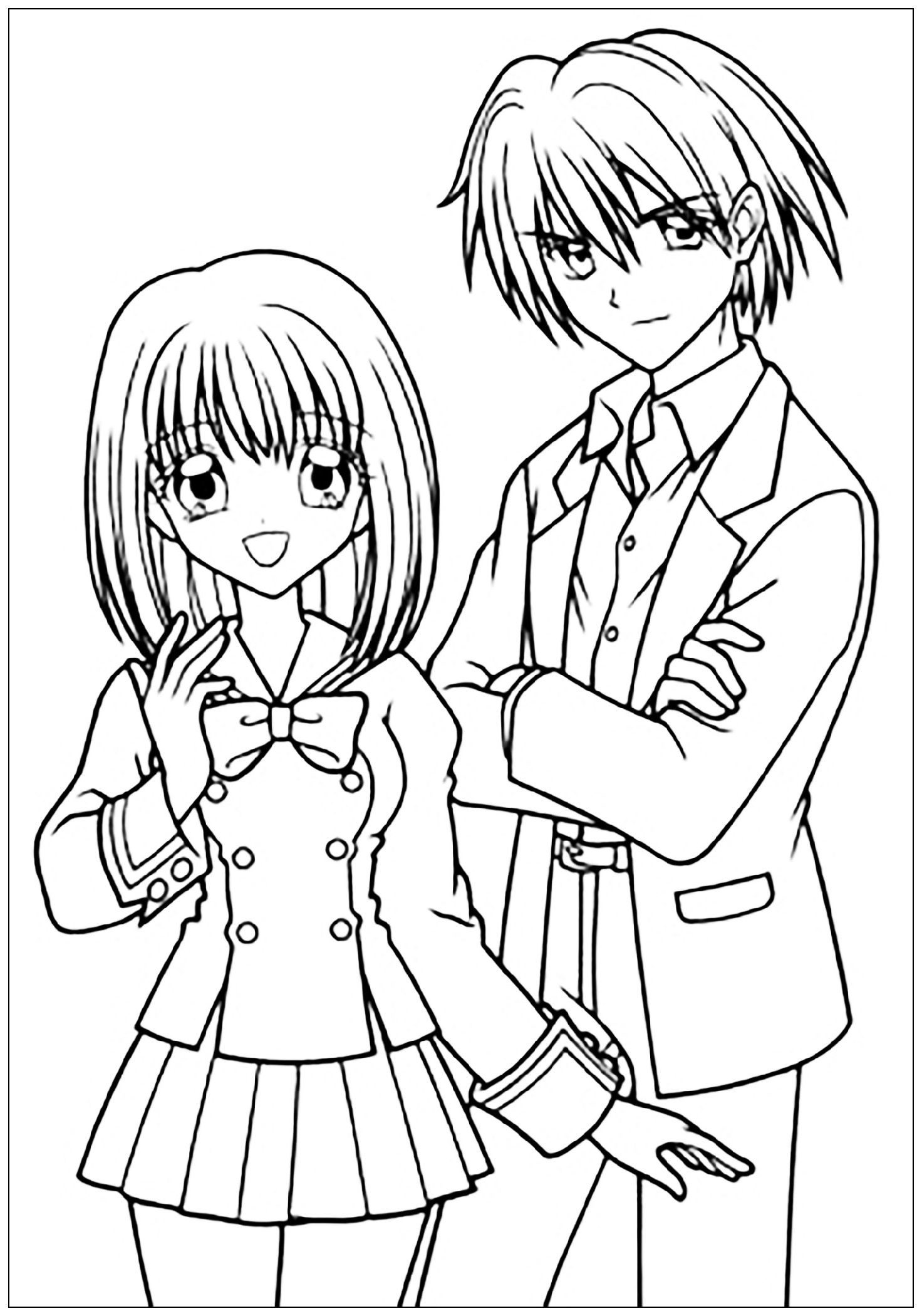 Anime Couple Coloring Pages Coloring Pages For Boys Boy And
