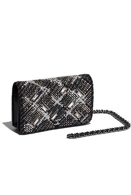 Pochette avec chaîne Classique, tweed brodé   métal finition  ruthénium-noir, gris   argenté - CHANEL 154bc7fe0b1