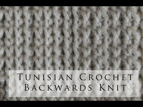 Tunisian Crochet Backwards Knit Stitch  Uncinetto tunisino: punto maglia